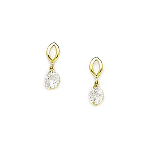Fancy Round Cubic Zirconia Drop Earrings