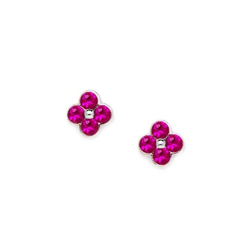 Medium 4 Petal Flower Cubic Zirconia Stud Earrings