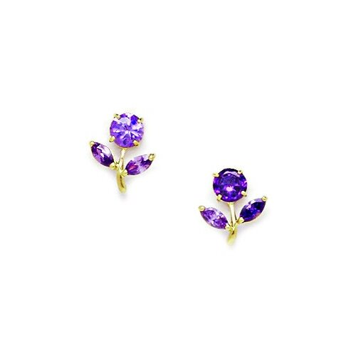 Flower With Leaves Cubic Zirconia Stud Earrings