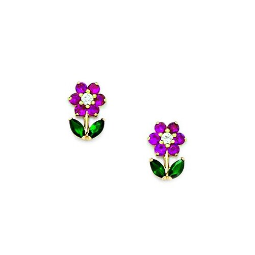 Flower With Leaves Cubic Zirconia Stud Earrings