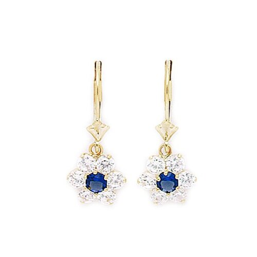 Flower Birthstone Drop Earrings