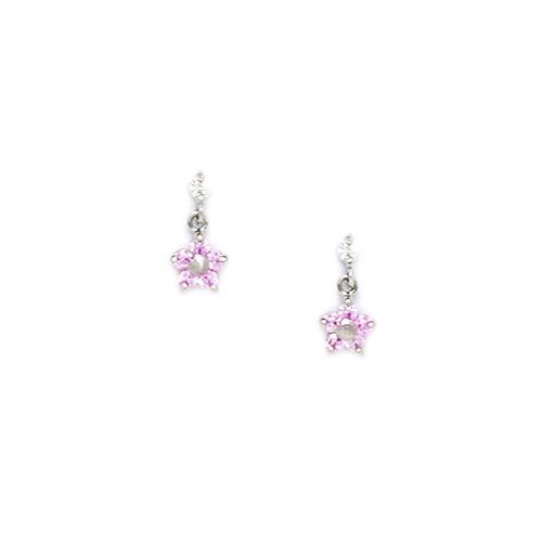 Large Flower Cubic Zirconia Drop Earrings