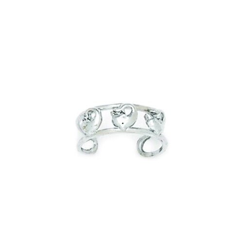 14k White Gold Double Row With Dolphin Adjustable Toe Ring