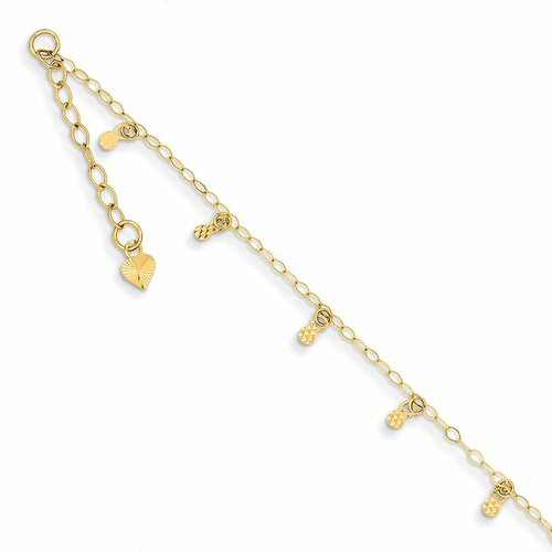 14k Oval Chain Diamond-Cut Dots, 9