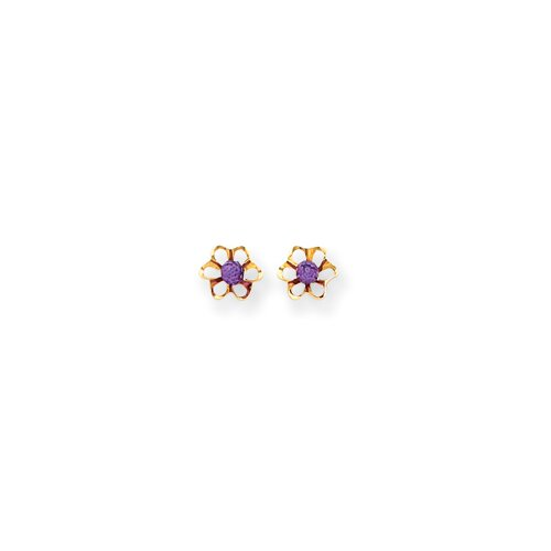 Flower Cubic Zirconia Stud Earrings