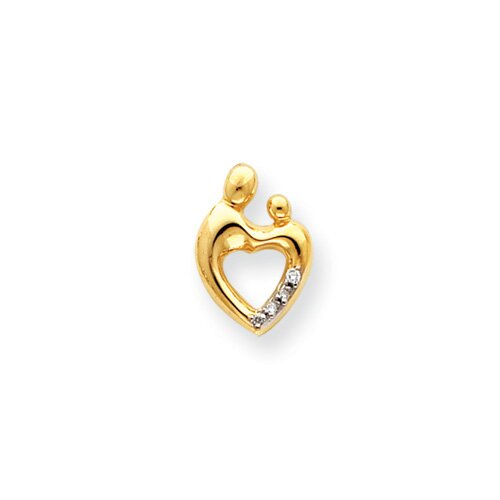 14 k Gold Heart Rough Diamond Mother and Child Pendant