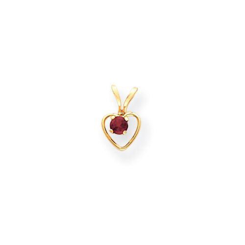 14 k Gold Heart Rhodalite Garnet Child Pendant