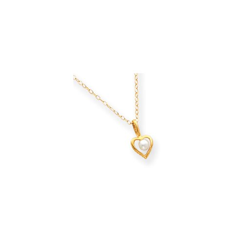 14k Open Heart Cultured Pearl Pendant Child Chain