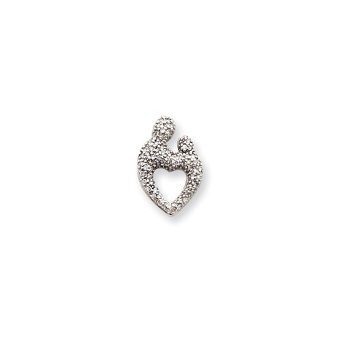 14k White Gold Heart Diamond Mother Child Pendant