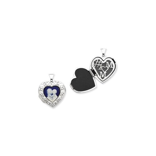 Sterling Silver Mother and Baby Cameo Heart Locket