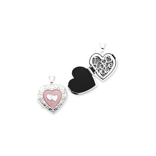 Sterling Silver Pink MOP Double Heart Locket