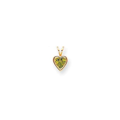 14k Yellow Gold Heart Peridot Bezel Pendant