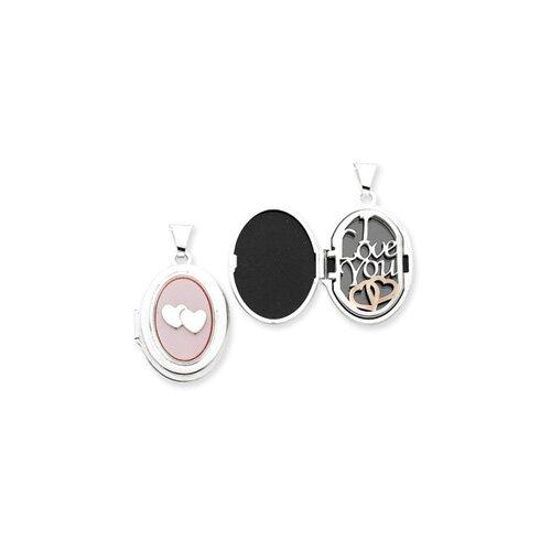 Sterling Silver Pink MOP Double Heart Oval Locket