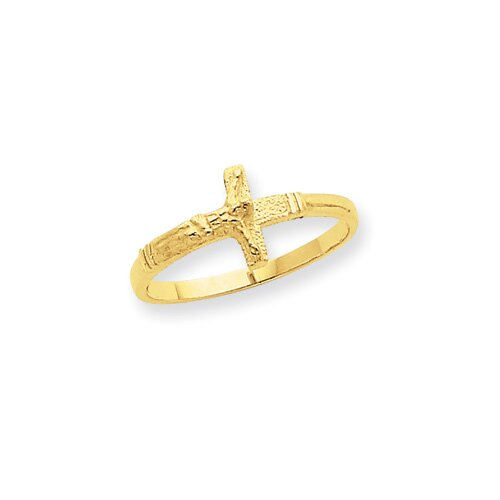 14k Yellow Gold Crucifix Child's Ring