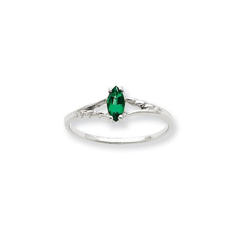 10k White Gold Genuine Emerald Ring