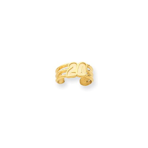 14k Yellow Gold Nascar Tony Stewart Number 20 Toe Ring