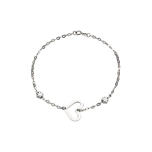 Jewelryweb Heart and Flowers Anklet Bracelet
