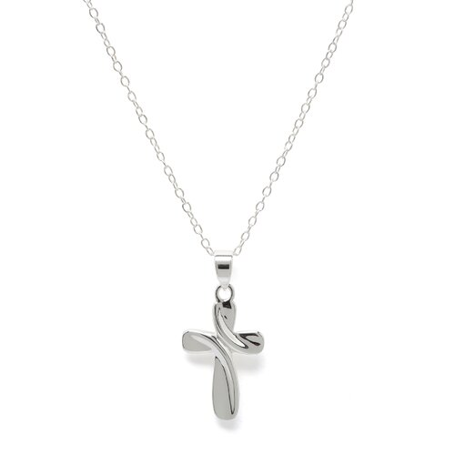 Sterling Silver Cross Necklace - 18 Inch- Spring Ring
