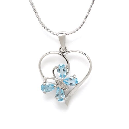 Sterling Silver SW Blue Topaz and Diamond Butterfly Heart Pendant