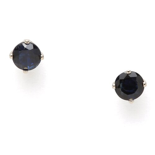 14k White Gold 3mm Sapphire Stud Earrings