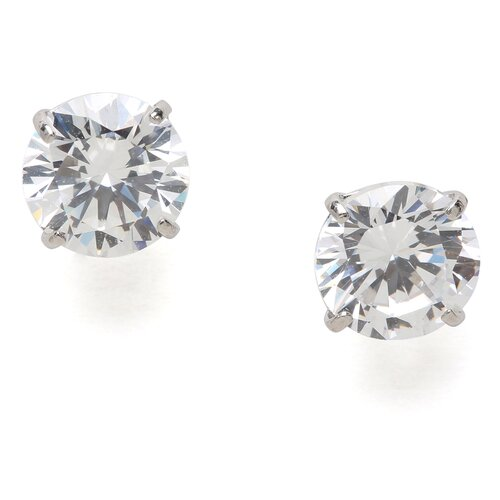 Jewelryweb 14k White Gold 6mm Round CZ Screwback Earrings