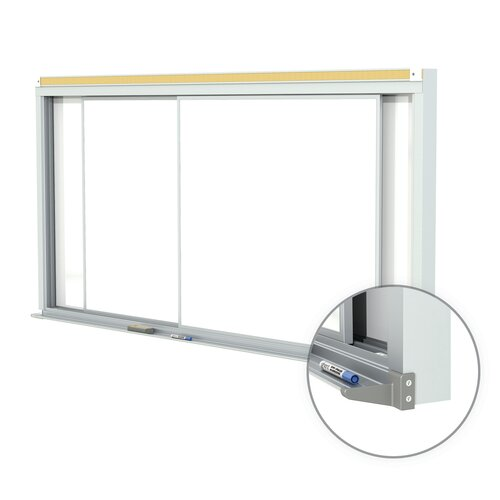 Ghent Horizontal Sliding Panel Porcelain Magnetic Whiteboard - 28 Gauge