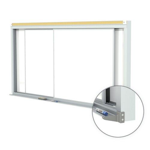 Ghent Horizontal Sliding Panel Unit Porcelain Magnetic 28 gauge Whiteboard