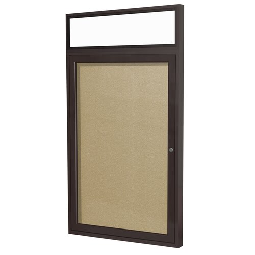 Ghent Illuminated Headliner 1-Door Enclosed Natural Cork Tackboard
