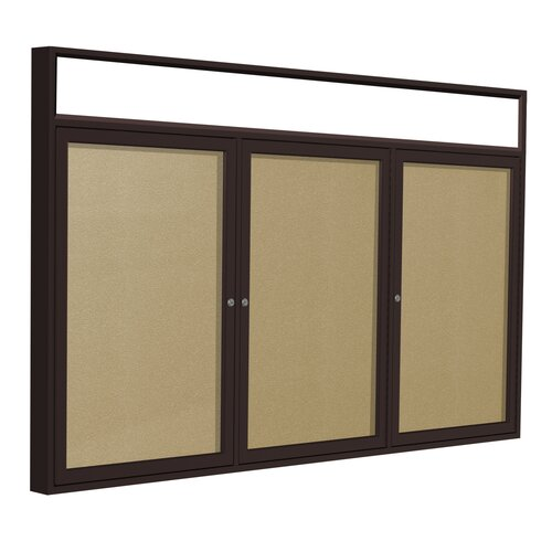 Ghent 3-Door Aluminum Frame Enclosed Bulletin Board with Headliner - Natural Cork