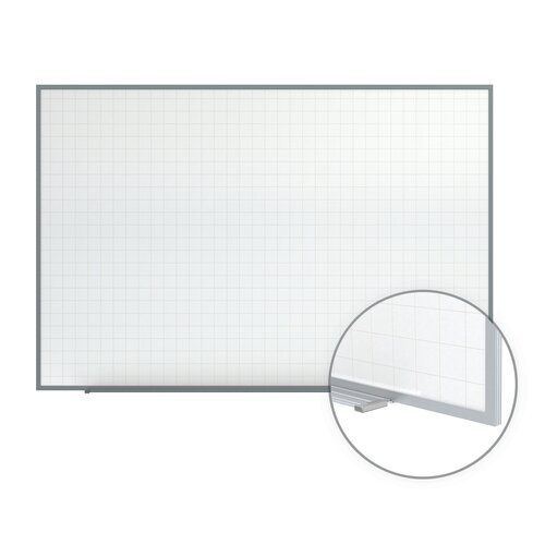 Ghent Aluminum Frame Phantom Line Magnetic Whiteboard - Markers & Eraser - 2 x 2 Grid Pattern
