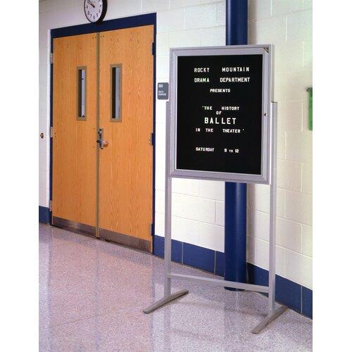 "Ghent Sentry Aluminum Frame Enclosed Letter Board - 3/4"" Gothic Font Letters"