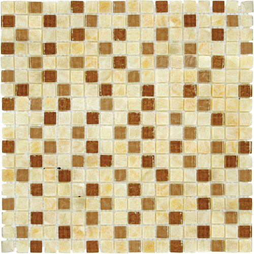 "MS International 5/8"" x 5/8"" Tumbled Glass Mosaic in Honey Ripple Blend"