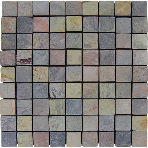 "MS International 1"" x 1"" Tumbled Slate Mosaic in Multi Classic"