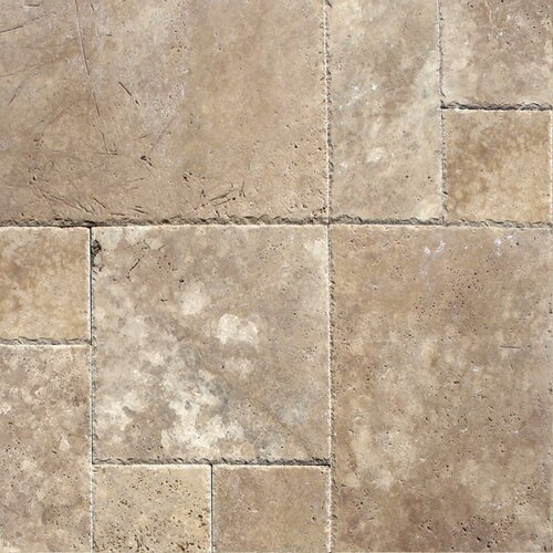 Unfilled And Chipped Random Sized Travertine Tile in Tuscany Walnut
