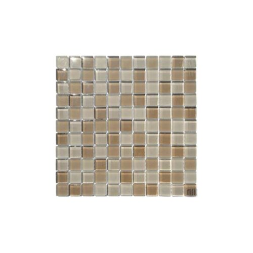 "MS International 1"" x 1"" Crystallized Glass Mosaic in Mocha Cream Blend"