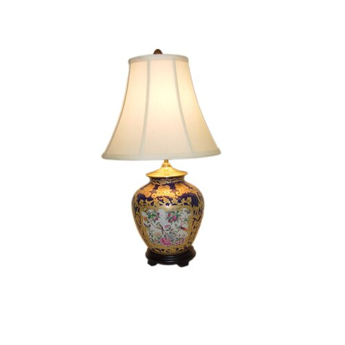 "Amita Trading Scroll Medallion Ginger Jar 12"" H Table Lamp with Bell Shade"