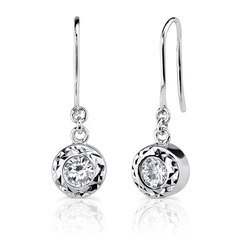 Oravo Solitaire Splendor: Sterling Silver Celebrity Inspired Dangle Style Earrings with Bezel set Cubic Zirconia