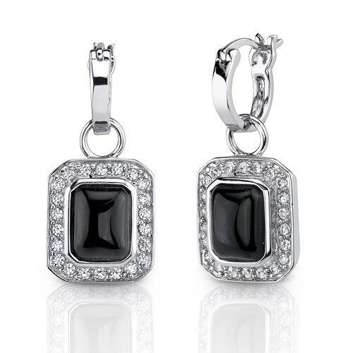 Oravo Red Carpet Splendor: Sterling Silver Celebrity Inspired Mini-hoops with Antique Style Black Onyx Dangle Earrings with CZ