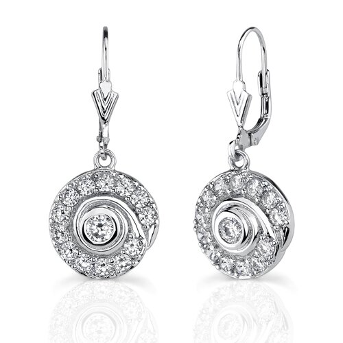 Oravo Classic Petite Swirl: Sterling Silver Bridal Style Swirl-shape Dangle Lever-back Earrings with Cubic Zirconia