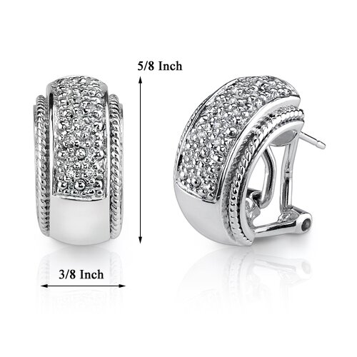 Oravo Starlet Sophistication: Sterling Silver Celebrity Style Hoop Earrings with Cubic Zirconia