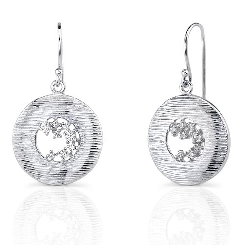 Oravo Moonlit Night Radiance: Sterling Silver Disc Style Textured Fishhook Earrings with Cubic Zirconia