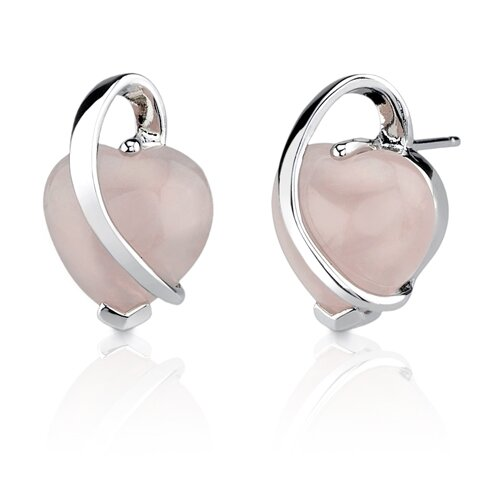 Delicate Blush of Love: Sterling Silver Designer Inspired Stud Earrings with Cabochon ...