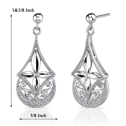 Oravo Timeless Inspiration: Sterling Silver Celebrity Inspired Filigree Openwork Dangle Post Earrings