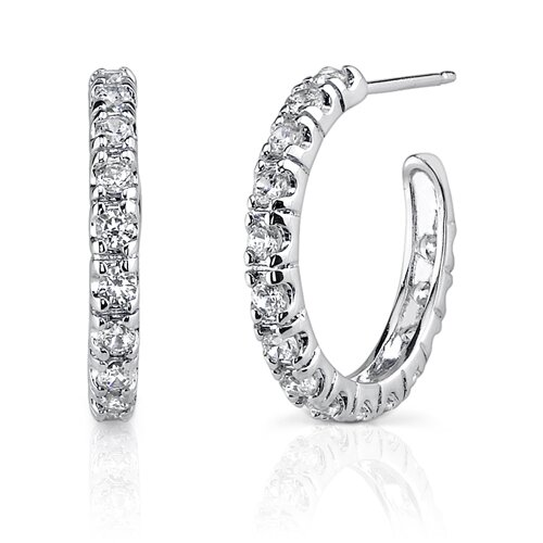 Oravo Chic Glamour: Sterling Silver Celebrity Inspired Open-hoop Post Earrings with Cubic Zirconia