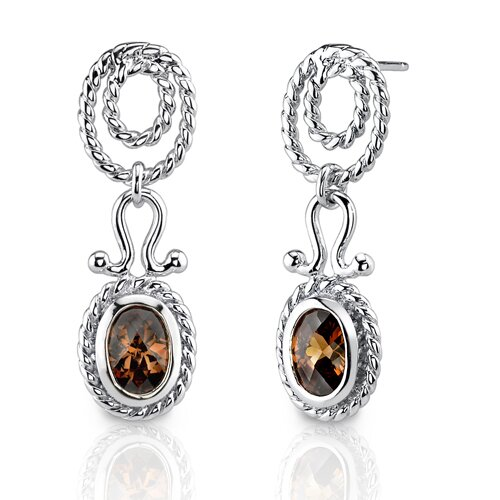 Earthy Elegance: Sterling Silver Celebrity Inspired Rope Design Dangle Post Earrings with ...