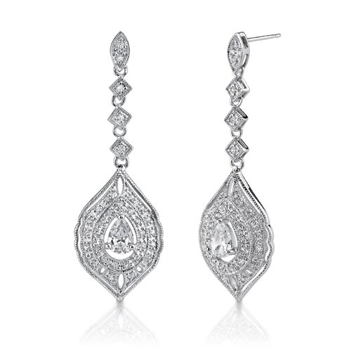 Starlet Glamour: Sterling Silver Celebrity Style Vintage Inspired Filigree Chandelier Earrings ...