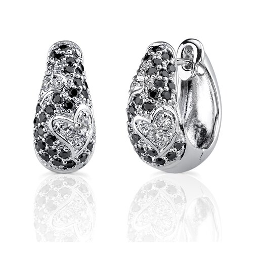 Romantic Radiance: Sterling Silver Couture Jewelry Hinged Post Earrings with Black Cubic Zirconia