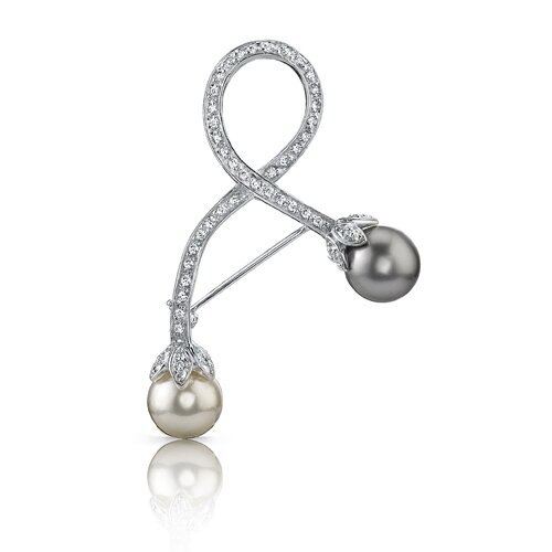 Glamour and Bliss: Sterling Silver White Cubic Zirconia Gray White Faux Pearl Brooch