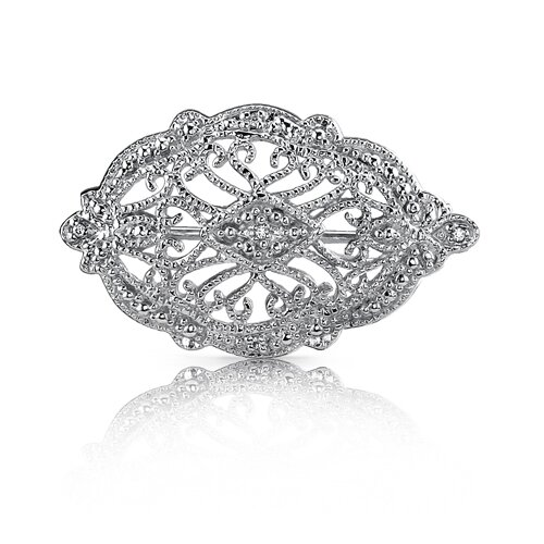 Celebrated Style: Sterling Silver White Cubic Zirconia Vintage Style Brooch