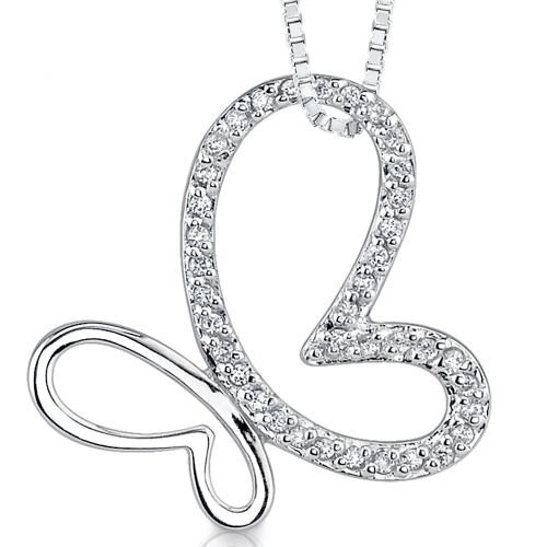 Springtime Glitter: Sterling Silver Slider Style Butterfly Pendant Necklace with Cubic Zirconia